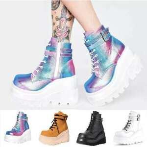 Women's Ankle Boots Platform Shoes Wedge Heel Shiny Buckle Strap Biker Bootie