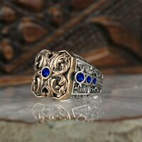 Turkish 925 Sterling Silver Handmade Jewelry Sapphire Stone Men's Ring     #TR
