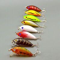 Mini 8pcs/Lot Minnow Fishing Lure Crank Bait Hook Bass Crankbait Tackle 5CM/3.6G