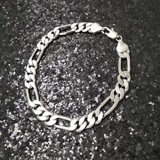 18K White Gold Filled Beveled Italian Smooth 3+1 Figaro 18ct GF Bracelet 18cm