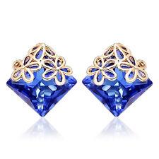 Womens Retro Gold Filled Earings Square Crystal Cute Flower Stud earrings lot