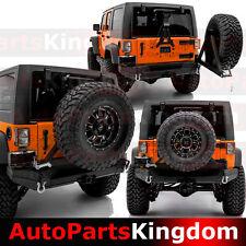 Rock Crawler Rear Bumper+Tire Carrier+Dual Wrap-Plate For 07-17 Jeep JK Wrangler