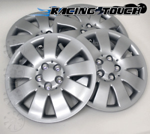 """#721 Replacement 16"""" Inches Metallic Silver Hubcaps 4pcs Set Hub Cap Wheel Cover"""