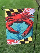 Red Crab Flag Maryland State Flag - Garden Size nautical beach 2sided -MADE USA