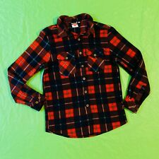 Lee Cooper Size S Fleece Jumper Red Check Retro Tartan Vibes Button Up