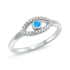 Evil Eye Ring Round Lab Created Opal Round CZ 925 Sterling Silver Choose Color