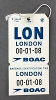 BOAC LONDON VINTAGE BAG TAG LUGGAGE BAGGAGE LABEL B.O.A.C. RETRO AIRLINE AIRWAYS