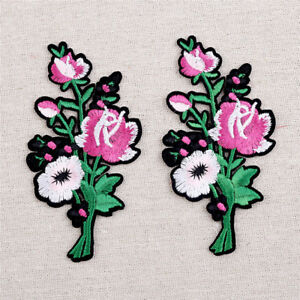 1 Pair Flower Rose Embroidered Patches Fabric Applique Sew On Iron On DIY Craft