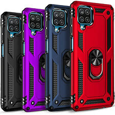 For Samsung Galaxy A12 Case, Ring Kickstand Cover + Tempered Glass Protector