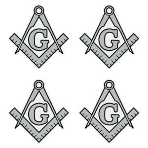 """Masonic Square and Compass Silver Very Small 1"""" Reflective Decal Sheet of 4"""