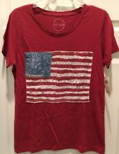 NEW! Women's Lucky Brand S/S T-top/Shirt With Embellished American Flag,SzL, NWT