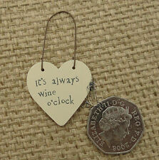 East of India Little Heart Sign Gift Tags Wood Cute It's Always Wine O'clock