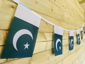 🇵🇰PAKISTAN NATIONAL FLAG Bunting Sport Traditional Polyester 32 Flag 8m