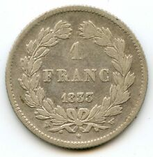 France Louis-Philippe Ier 1 Franc 1833 W Lille F.210/26