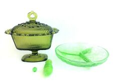 Mixed Lot Used Depression Glass Green Fence Insulator Snack Bowl Tray Decorative
