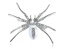 White Enamel Silver Crystal Rhinestone Halloween Spider Bug Jewelry Pin Brooch