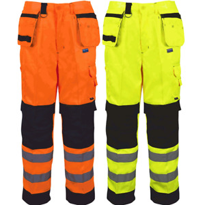 High Vis Multi Pockets Work Trouser High Visibility Button Pants UK