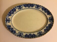 Beautiful Large Antique Blue & White Platter 17 Inch By 13 Inch