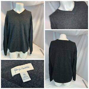 John W Nordstrom Sweater XXL Men Gray V Neck 100% Cashmere Mint YGI A1-478