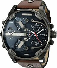 DIESEL DZ7314 BROWN LEATHER MENS MR DADDY 2.0 57MM CHRONOGRAPH WATCH NEW