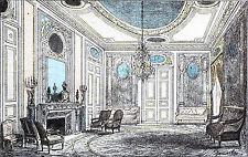 SALON d'un appartement HAUSSMANNIEN (NAPOLÉON III) - Gravure 19° en couleur
