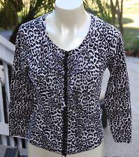 Charlotte Tarantola Cardigan Sweater Sparkle Button Rufflet 3/4 Sleeve Leopard L