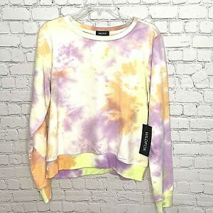 WILDFOX Sweatshirt Large Tie Dye Sherbet Wash Crew Neck Cozy Soft New with Tags