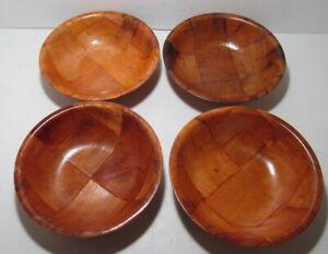 """Vintage Wood Weave Fruit Salad 6"""" Set of 4 Bowls"""