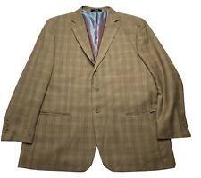 Fubu Mens Brown Plaid Classic Big & Tall 48R Suit Jacket Sport Coat