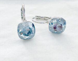 Dangle square 8mm Light blue Swarovski crystal with bella pierced earrings