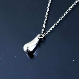 TIFFANY & CO. Elsa Peretti Teardrop Necklace Pendant Sterling Silver 925 w/ Box