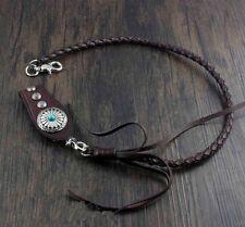 Handmade Genuine Leather Biker Wallet Chain Belt Key Holder