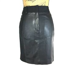 NEW Ann Taylor 0 XS Pencil Skirt Basic Black Faux Leather Insert Stretch Zip $98