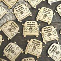 Personalised VW Camper Van Rustic Oak Retro Theme Wooden Wedding Table Confetti