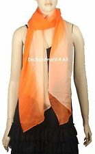 """Large Elegant Handmade Oblong 72""""x26"""" Fashion Scarf Shawl Wrap, Shaded Orange"""