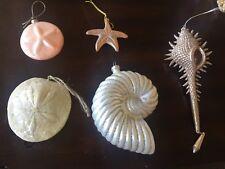 Set Of 5 Nautical Themed Christmas Ornaments