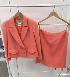 Chanel Coral Boucle Skirt Suit Size 42