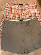 Men's Phat Farm plaid shorts & Lands End Mens khaki shorts 42 EUC!
