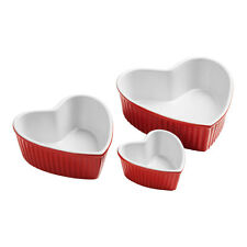 Set Of 3 Heart Dishes Red White Dipping Pots Oven Cooking Casserole Baking Dish