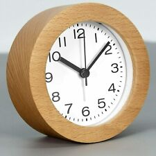 3 in Round Wooden Alarm Clock with Arabic Numerals Non-Ticking Silent Backlight