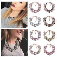 Fashion Rhinestone Crystal Choker Necklaces Chain Women Statement Bib Jewelry