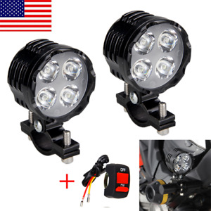 2x Motorcycle Spot Light 8 LED Driving Headlight Fog Driving Lamp +Switch White