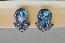 Sapphire Blue Rhinestone Clip-on Earrings Vintage Silver Tone Pear Shaped Stud