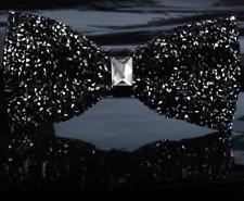 Men's Wear Bow Tie Crystal Glitter Silver Wedding Smart Ball Party Prom UK