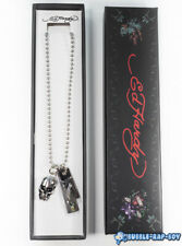 """ED HARDY DIE TRYING PENDANT AND BALL CHAIN NECKLACE 24"""""""