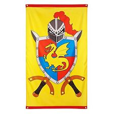 New Large 150cm x 90cm Knights and Dragons Medieval Party Decoration Castle Flag