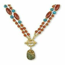 """Ancient Egyptian Artifacts Scarab Red Carnelian Turquoise Toggle Necklace, 22"""""""