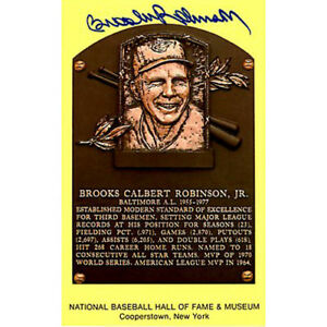 BROOKS ROBINSON SIGNED BASE BALL HOF MUSEUM PLAQUE POST CARD BALTIMORE ORIOLES