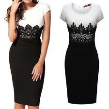 Women Lace Contrast Crew Neck Bodycon Business Formal Party Slim Pencil Dress