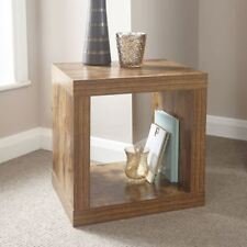 Distressed Hardwood Effect Mango Walnut Study Cube Square End Lamp Side Table -